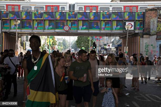 Tens of thousands of people on Ladbroke Grove at Notting Hill Carnival on 28th August 2017 in West London United Kingdom A celebration of West Indian...