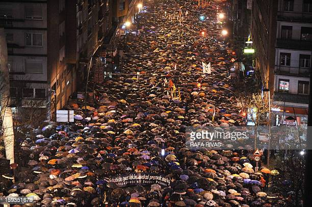 Tens of thousands of people take part in a march demanding the transfer of ETA prisoners to the Basque country during a demonstration called by...