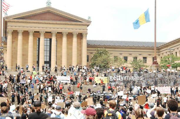 Tens of thousands of Philadelphians rallied in front of the Philadelphia Museum of Art before taking to the street to demand justice for George Floyd...