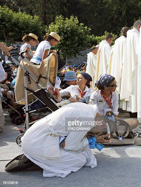 Tens of thousands of pilgrims gathered at the Roman Catholic sanctuary of Lourdes in the French Pyrenees 15 August 2007 for the Feast of the...
