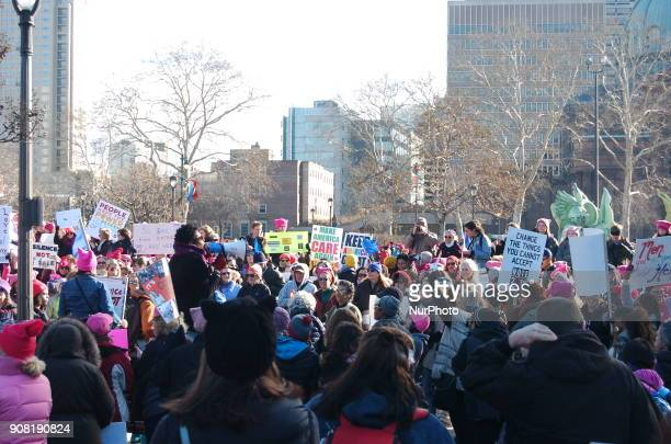 Ten's of thousands of protesters gathered in Logan Square beginning around 900 AM to begin a celebrating womanhood and resistance to the Trump...