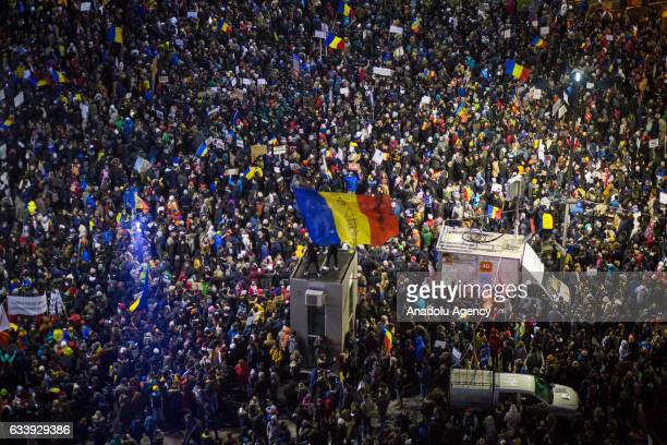 Tens of thousands of Romanians protest against the government in the largest protest movement the country has seen since 1989 in Bucharest, Romania.