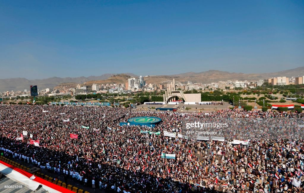 Tens of thousands of supporters of Yemen's Iran-backed Huthi rebel movement gather in the capital Sanaa on September 21, 2017 to mark the third anniversary of the rebel takeover. Huthi rebels captured Sanaa on September 21, 2014, seizing the government headquarters and military sites with the aid of forces loyal to ex-president Saleh -- a former foe /