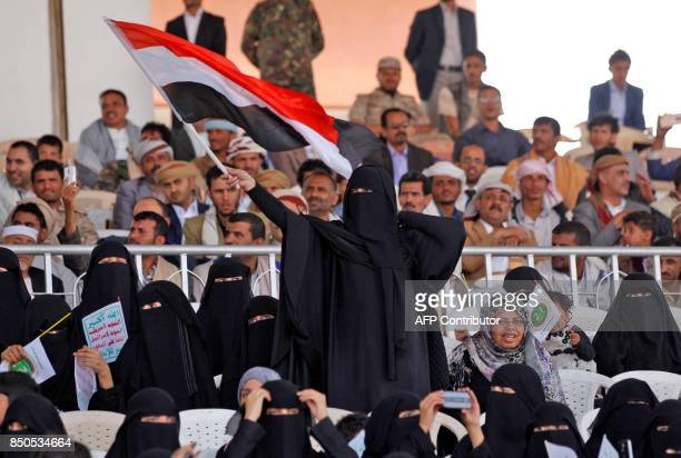 Tens of thousands of supporters of Yemen's Iranbacked Huthi rebel movement gather in the capital Sanaa on September 21 2017 to mark the third...