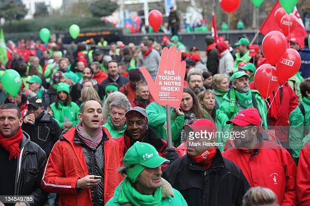 Tens of thousands of Union Strikers take to the streets to march in protest against the austerity measures made by the incoming Belgian Government on...