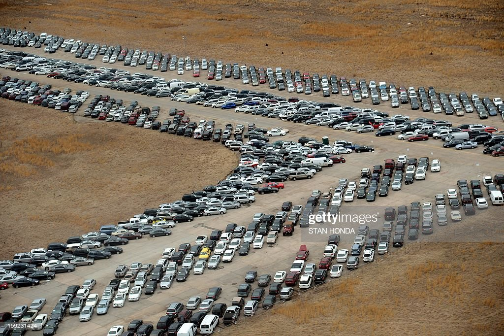 Tens of thousands of vehicles damaged by super storm Sandy are being temporarily stored on runways and taxiways at Calverton Executive Airpark in Calverton, New York, on January 9, 2013 in this aer...