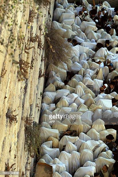 Tens of thousands orthodox Jews attend the Jewish priest's blessing ceremony for Sukkot the feast of the Tabernacles at the Western Wall in the old...