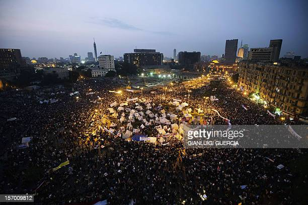 Tens of thousands people take part in a mass rally against a decree by President Mohamed Morsi granting himself broad powers on November 27 2012 at...