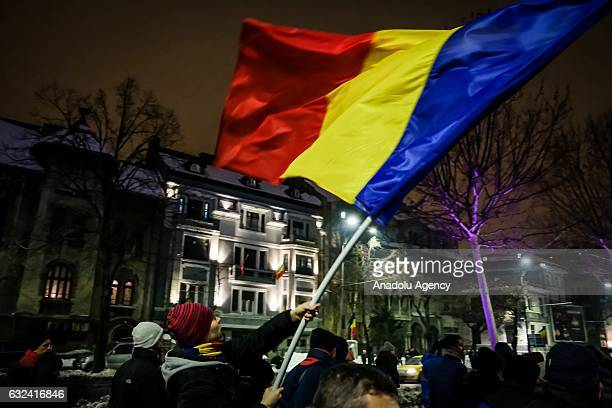 Tens of thousands protest against corruption and the new Romanian government during a rally in Bucharest Romania on January 22 2017