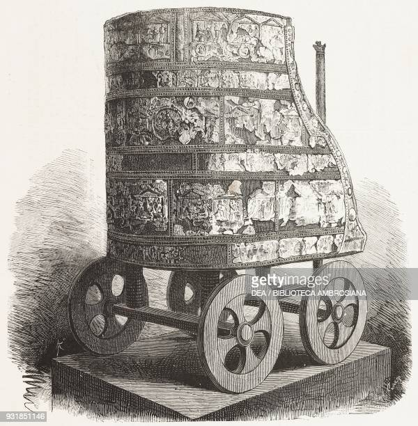 Tensa Capitolina ceremonial chariot with bronze plaques depicting the Trojan cycle 4th century BC engraving from L'Illustrazione Italiana Year 5 No...