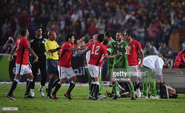 Tensions flare during the FIFA2010 World Cup qualifying match between Egypt and Algeria at the Cairo International Stadium on November 14 2009 in...