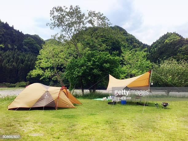 Tent and tarp in Ibaraki, Japan.