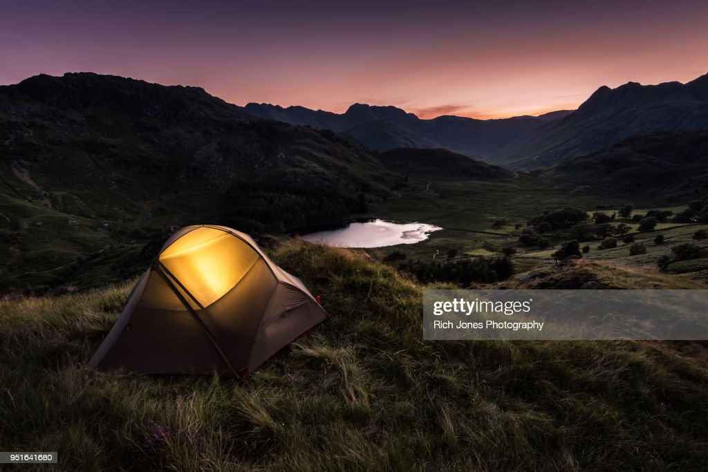 Tent at Dusk in English Lake District : Foto de stock