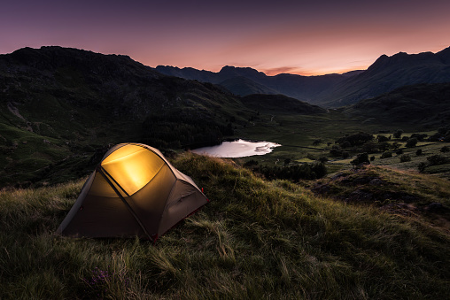 Tent at Dusk in English Lake District - gettyimageskorea