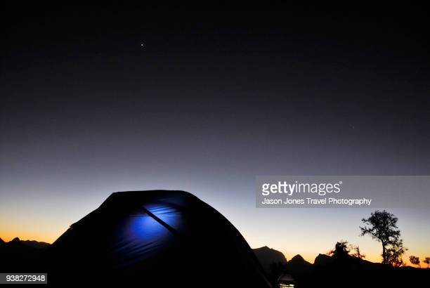A tent at night in the desert