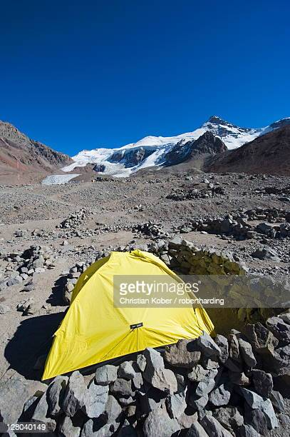 Tent at Plaza de Mulas base camp, Aconcagua 6962m, highest peak in the western hemisphere, Aconcagua Provincial Park, Andes mountains, Argentina, South America