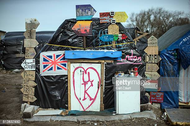A tent belonging to a Sudanese migrant is pictured in the 'jungle' camp on February 28 2016 in Calais France The French authorities have begun...