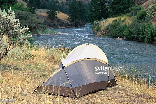 Tent beside river
