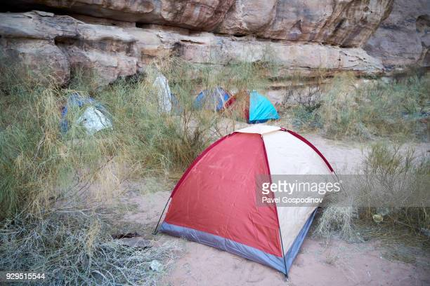 Tent camp in Wadi Rum (The Valley of the Moon), a protected desert wilderness in Jordan