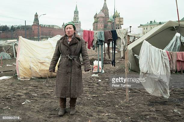A tent city in sight of St Basil's Cathedral and the Kremlin during the economic crisis of 1990