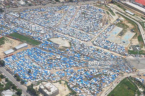 A tent city is seen in Leogane 33 Km south of PortauPrince on June 2 2010 Haiti faces an immense challenge in rebuilding after January's earthquake...