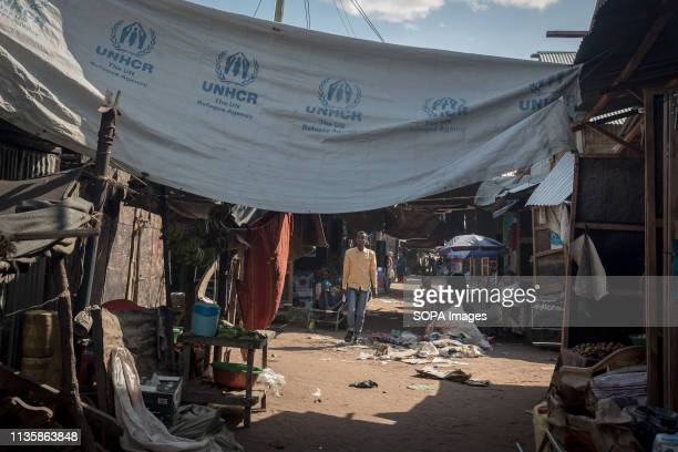 Tent cover seen in the refugee camp, eastern Kenya. Dadaab is one of the largest refugee camps in the world. More than 200,000 refugees live there -...