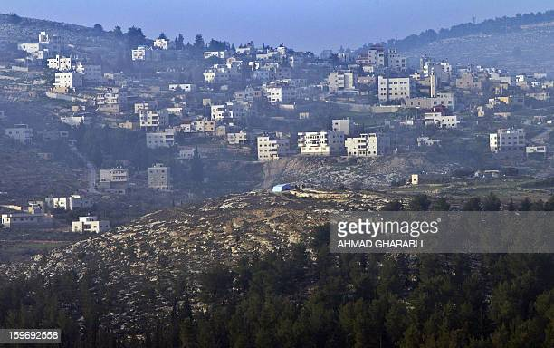 A tent erected by Palestinian demonstrators protesting against the confiscation of land by the Israeli army is seen in the village of Beit Iksa in...