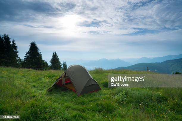 tent in bavarian alps - bavarian alps stock pictures, royalty-free photos & images
