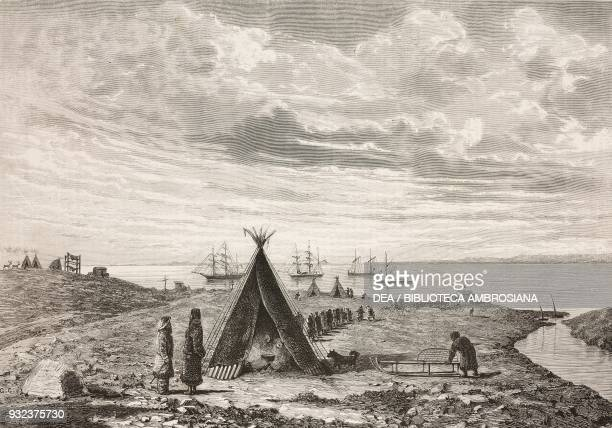 Tent in Khabarova village with the SS Vega in the background in the strait leading to the Kara Sea Russia SS Vega's voyage in the Arctic sketches by...