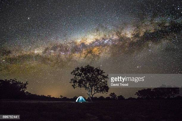 Tent in the outback under the Milky Way.