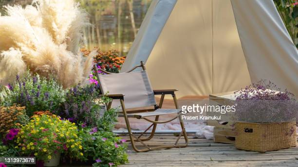 tent in the park decor in boho style. picine in the nature - tent stock pictures, royalty-free photos & images