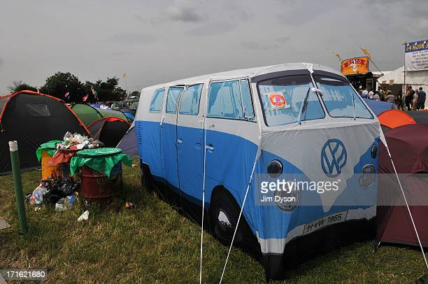 A tent in the shape of a VW camper van is pictured during day 1 of the 2013 Glastonbury Festival at Worthy Farm on June 27 2013 in Glastonbury England