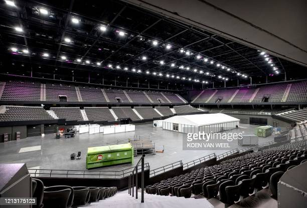 A tent is installed in an empty hall in the Ahoy Arena in Rotterdam on May 16 on the day that the final of the Eurovision Song Contest was to take...
