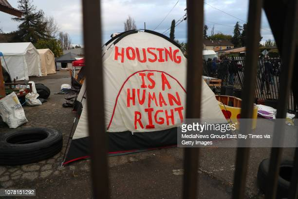 A tent is photographed at a homeless encampment at the corner of Edes and Elmhurst Avenues on Wednesday Dec 5 in Oakland Calif