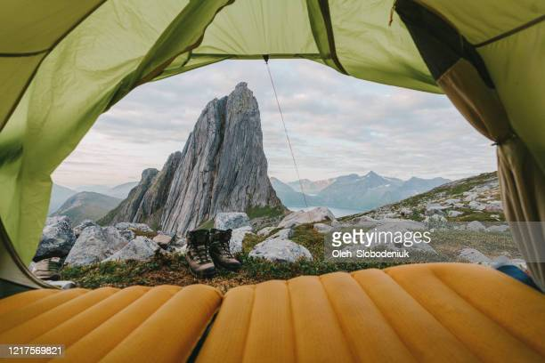 tent near segla mountain on senja - northern norway stock pictures, royalty-free photos & images