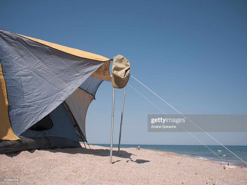 A tent on a beach  Stock Photo & A Tent On A Beach Stock Photo | Getty Images