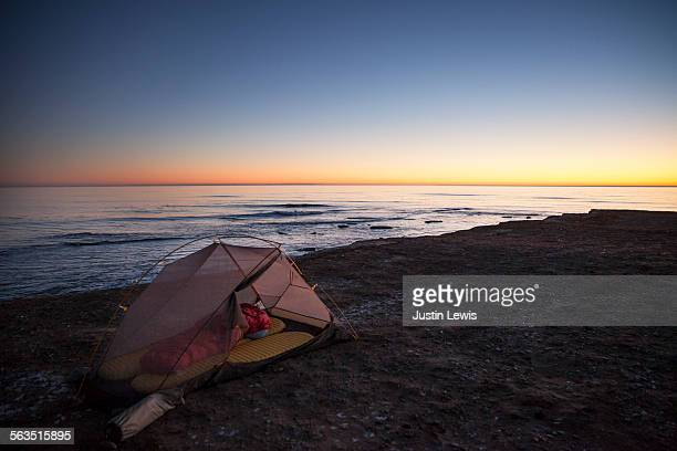 Tent on Beach at Sunset