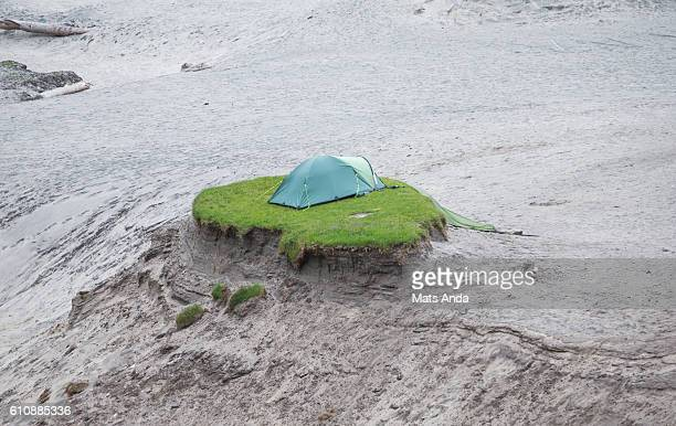 Tent on the last grass on earth