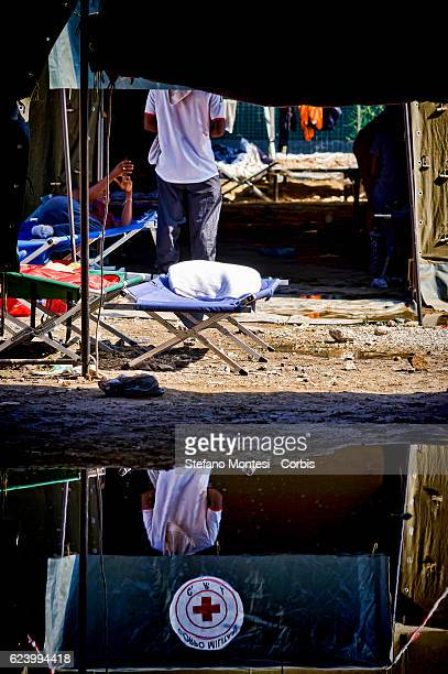 Tent that housed migrants flooded by rain at a camp setup by the Red Cross close to the Tiburtina train station in Rome Hundreds of migrants from...