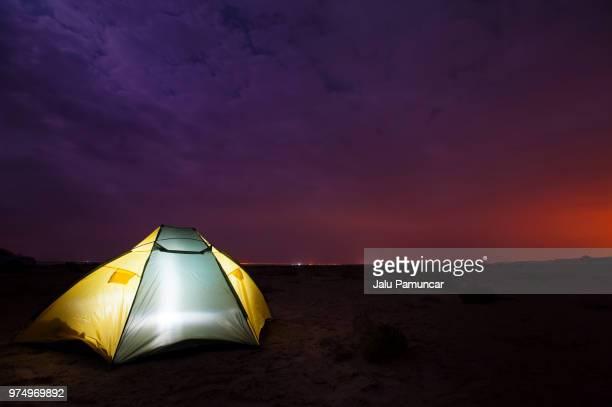 Tent under night sky, Qatar