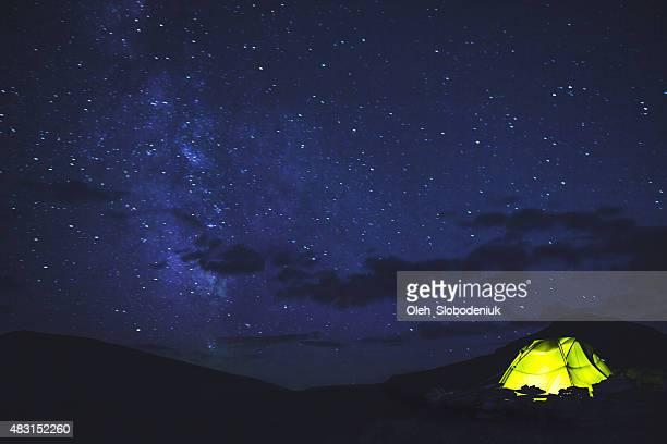 Zelt unter dem Sternenhimmel