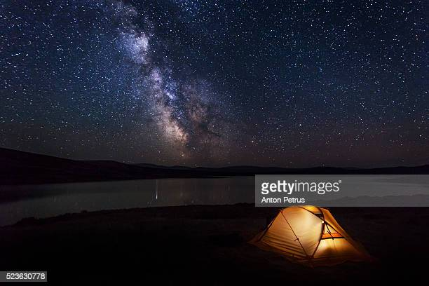 Tent under the stars on the lake