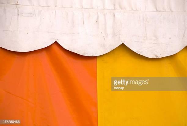 tent, white,yellow and orange