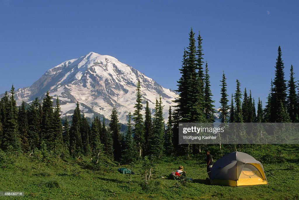 A tent with Mount Rainier in background at Eunice Lake Basin in Mt. Rainier National & A tent with Mount Rainier in background at Eunice Lake Basin ...