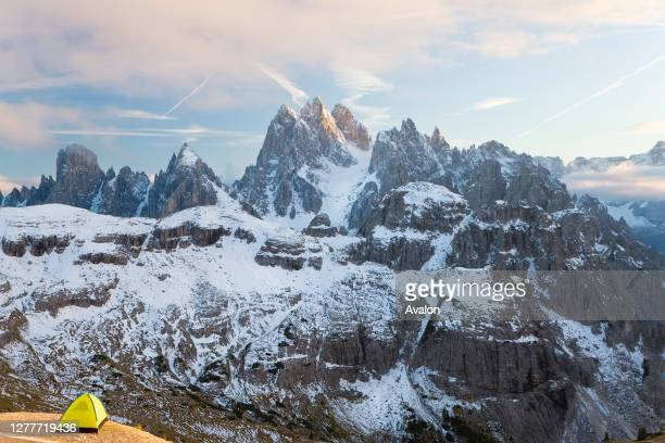 Tent with view of Dolomite Mountains. South Tyrol. Italy.