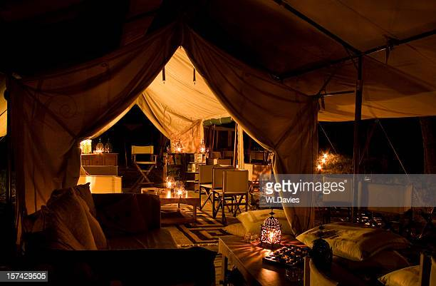 Tented safari camp by night