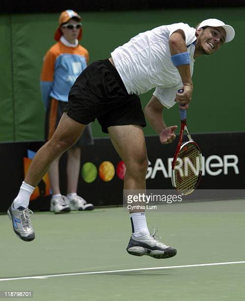 Tenth seed Gaston Gaudio defeats American Mardy Fish in a fourthset tiebreaker in the first round of the 2005 Australian Open in Melbourne Australia...