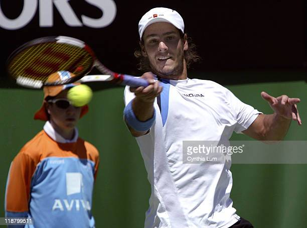 Tenth seed Gaston Gaudio defeats American Mardy Fish in a fourth-set tiebreaker in the first round of the 2005 Australian Open in Melbourne,...
