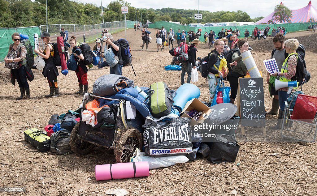 Tents and camping equipment are left for charity as festival goers leave the Glastonbury Festival 2016 at Worthy Farm, Pilton on June 26, 2016 near Glastonbury, England. The Festival, which Michael Eavis started in 1970 when several hundred hippies paid just £1, now attracts more than 175,000 people.