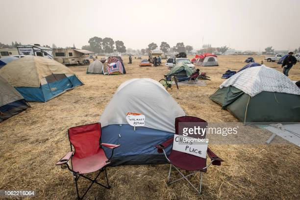 Tents and recreational vehicles belonging to Camp Fire evacuees stand in a makeshift tent city in Chico California US on Thursday Nov 15 2018 The...